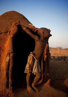 Himba house at sunset - Namibia