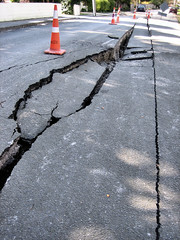 Earthquake damage roads