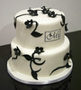 W9097 - black white floral wedding cake