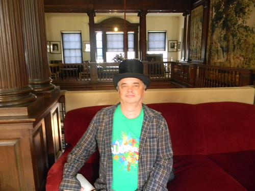 Unconvincing top-hatted gentleman