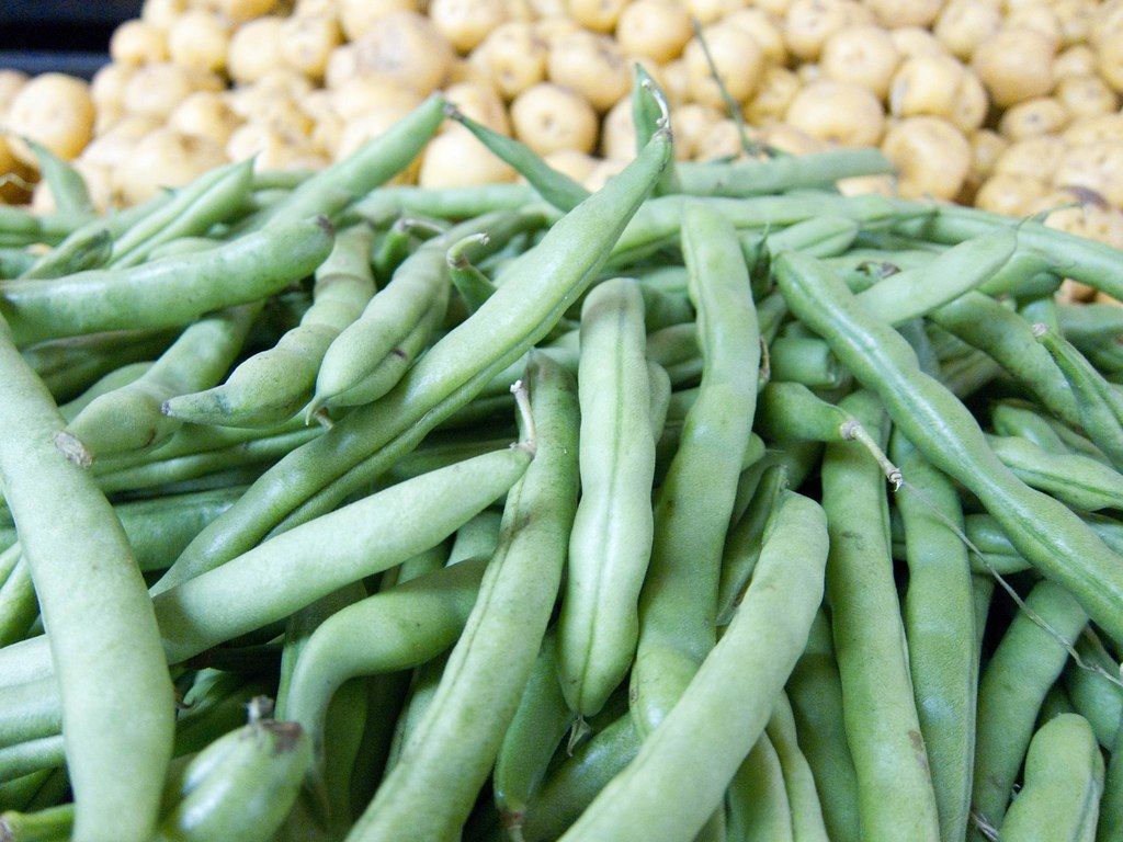 Green beans and potatoes at a local market