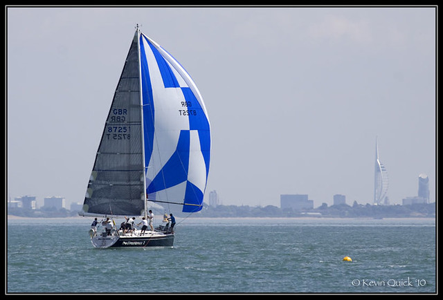 A Dehler 39 SQ yacht sailing off Cowes, Isle of Wight, UK
