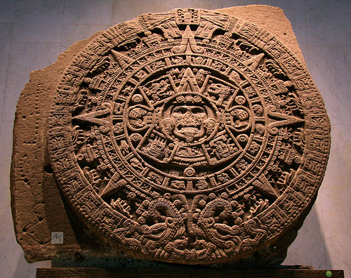 Aztec Calendar stone or Sun stone, National museum of Anthopology, Mexico City by Mikey Stephens