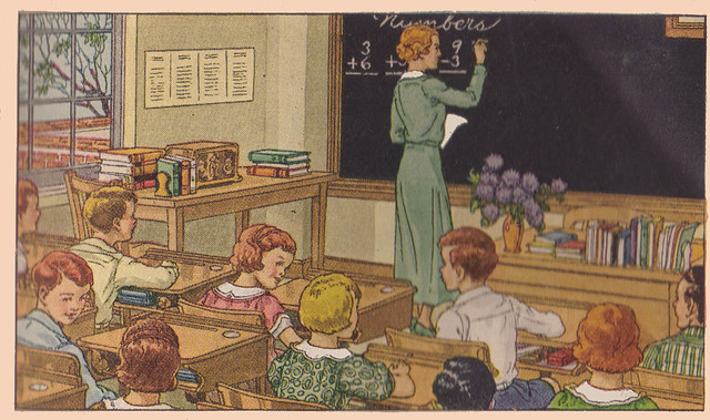 ilustración vintage, pizarra de escuela