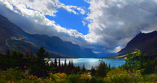 light panorama lake storm mountains tourism clouds landscape nationalpark travels nikon montana photographer view awesome glacier glaciers environment glaciernationalpark wilderness stmarylake drama deby allrightsreserved 2010 naturephotography prophotographer gooseisland bracketing dramaticlight glacialrunoff roadtothesun travelphotographer debydixon debydixonphotography lookatthecolorofthatlake