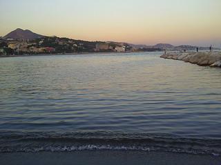 Malaga beach at dusk