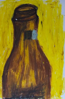 Abstract Art Oil Pastels - Beer Bottle