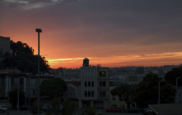 Sunset in San Francisco POV Best Buy parking lot; Anza Vista / Laurel Heights; San Francisco (2010)