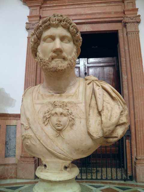 Bust of Hadrian in military uniform, found in Italica, 135-138 AD, Seville Archaeological Museum, Seville