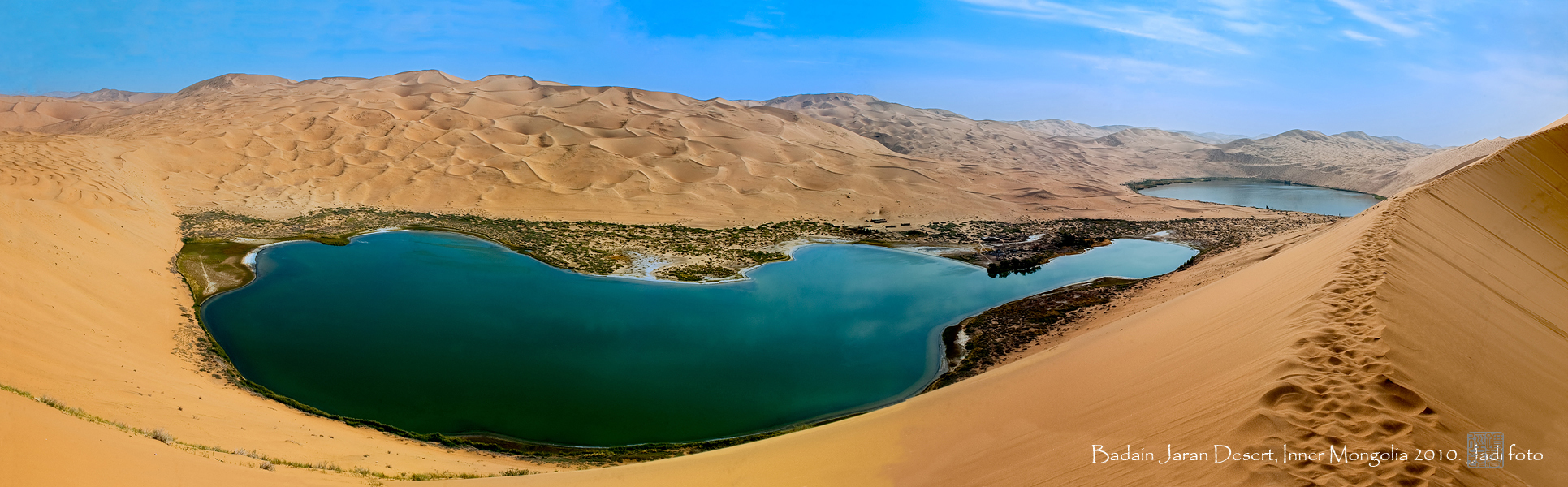 twin lakes in badain jaran desert, innner mongolia, china