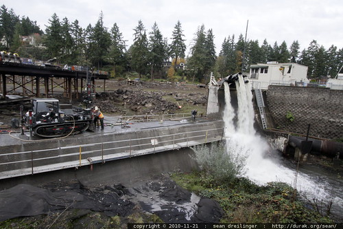 some sort of drill operating on the lake oswego dam