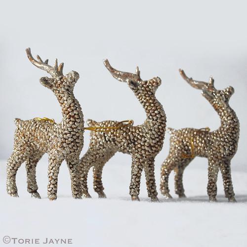 Glittered deer ornaments