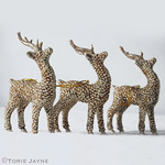 Glittered deer ornaments