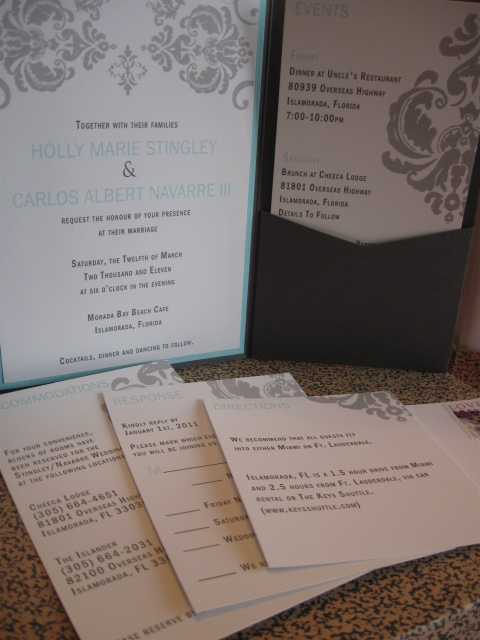 Damask Cascade Wedding Invitation Pocket Fold Set