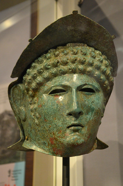 Bronze Roman cavalry helmet and mask, found in Luxembourg, 70-110 AD, private loan from United Kingdom