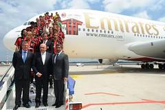 A380 Emirates a Malpensa  per nuova maglia Milan 2010-2011