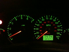 automotive exterior(0.0), wheel(0.0), steering wheel(0.0), odometer(1.0), gauge(1.0), speedometer(1.0), tachometer(1.0),