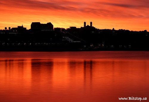 ocean longexposure sunset sky orange seascape canada church nature silhouette skyline buildings landscape lights evening scenery downtown glow cityscape harbour scenic atlantic cruiseship eastcoast 30seconds nd110filter
