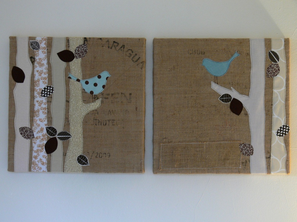 stumbles stitches burlap art