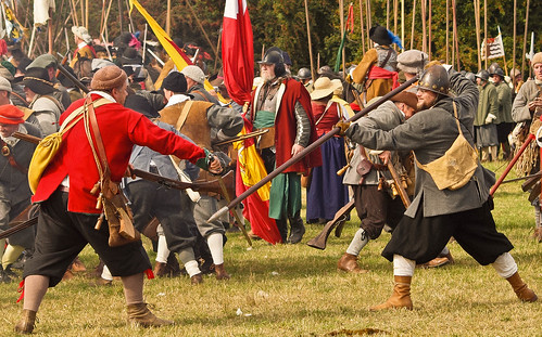 Sword against pike at a re-enactment of the Siege of Basing House, an event in the English Civil War