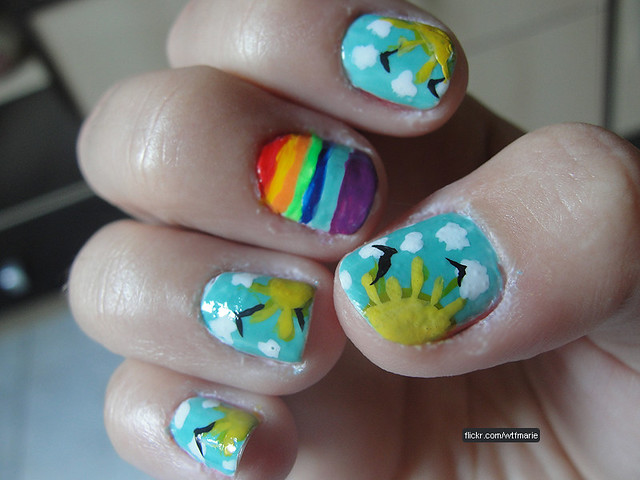 sky  positive rainbow  nail design