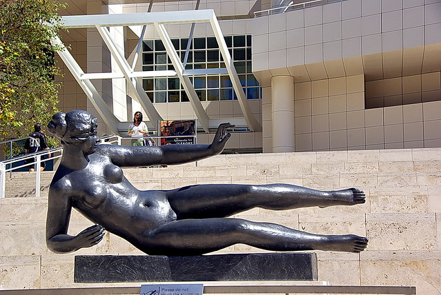 The Getty Center entrance - reclining female nude statue - Maillol's L'air