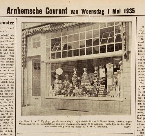 Opening kruisdenierswinkel van Egging aan de Raapopseweg, 1935