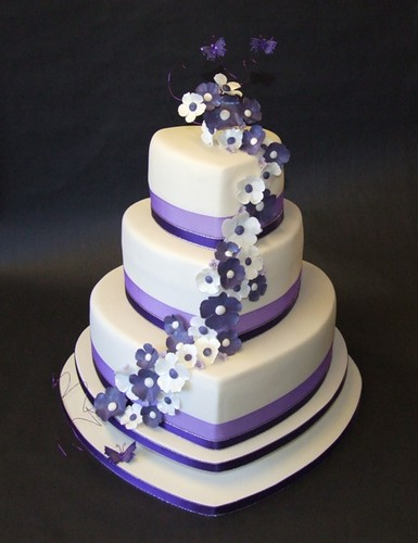 Ivory & Purple Heart Wedding Cake 2