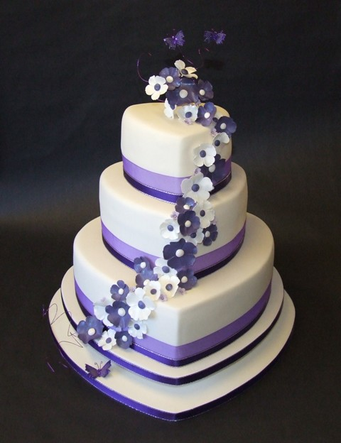 Ivory Purple Heart Wedding Cake 2