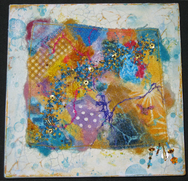 New mixed media beaded embroidery on inch square