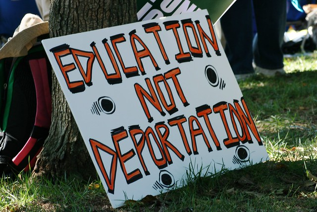 'Education Not Deportation' sign
