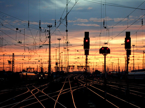 Sunset on Frankfurt`s railway