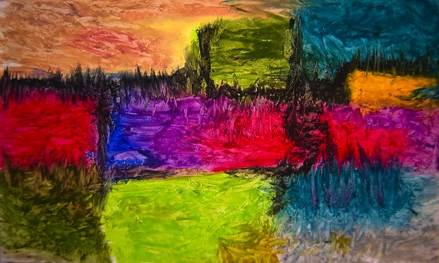 Abstract Art Oil Pastels - Notas 3