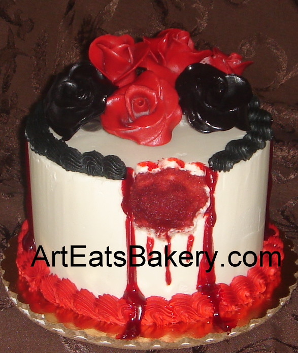 Vampire Blood Red Roses And Black Roses Custom Butter Cream