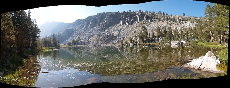 Panorama of the lowest lake in the southern group (a chain following Horseshoe Creek) of the Horseshoe Lakes. There were trout in this lake.
