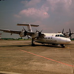 BERJAYA AIR DE HAVILLAND DHC-7 AT SINGAPORE SELETAR AIRPORT OCT 2010 9M-MAK