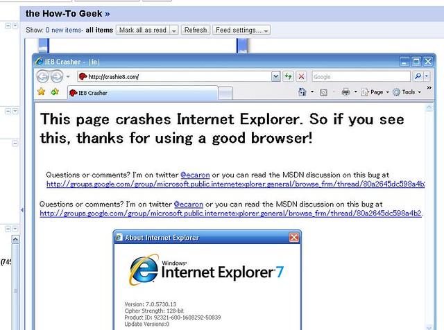 crashie8.com not crashing my IE 7.0
