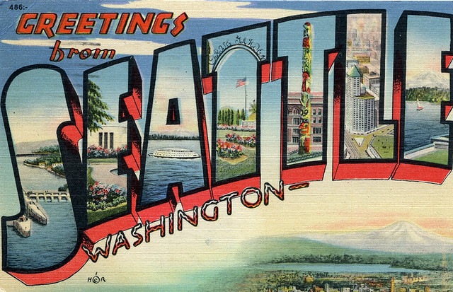 Greetings From Seattle Washington Large Letter Postcard Flickr Photo Sharing