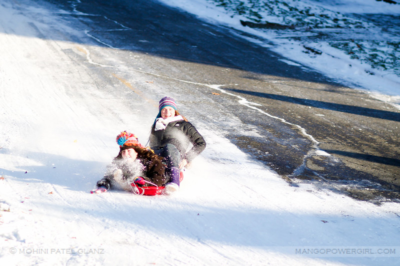 the sledding girls take a turn