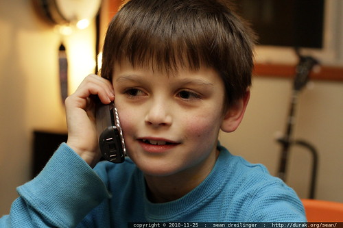 nick on the phone with grandma, grandpa & aunt megan