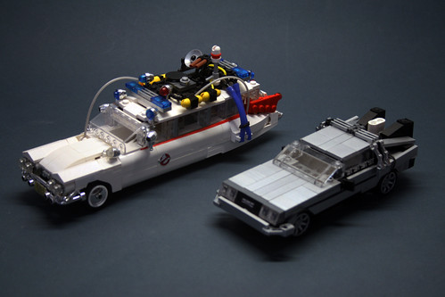 Ecto 1 and Delorean 7 wide