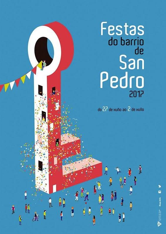 Santiago de Compostela 2017 - Festas do barrio de San Pedro - cartel