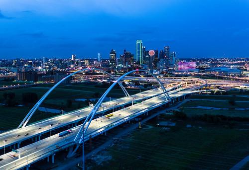 aerial blue bridge dallas dusk margaret mcdermott reuniontower skyline summer sunset texas unitedstates usa calatrava