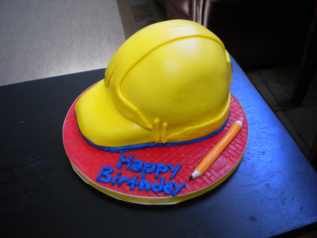 how to make a hard hat cake