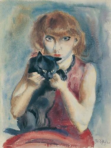 Rudolf Schlichter, My Wife with Cat, 1928