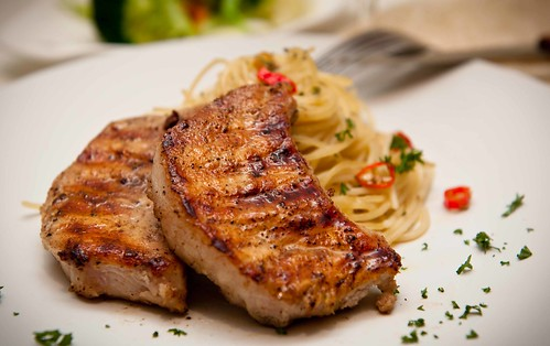 grilled pork steak