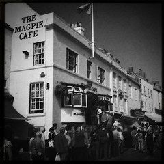 Queues at the Magpie Cafe in Whitby, Bank Holiday Monday
