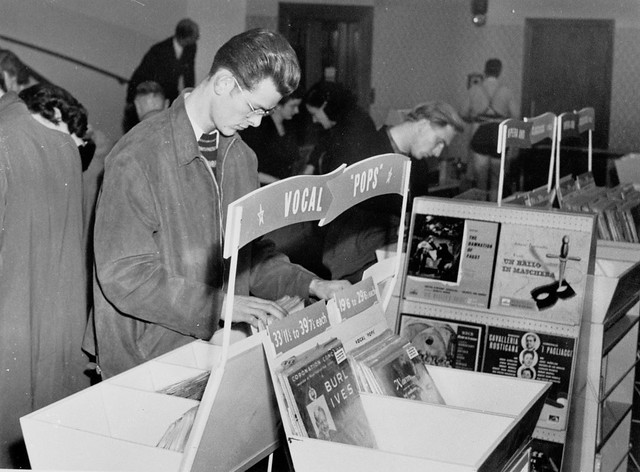 hmv 363 Oxford Street, London - Customer browsing records 1950s
