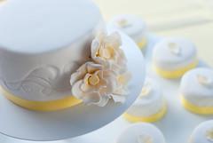 cupcake(0.0), cake(1.0), flower(1.0), buttercream(1.0), yellow(1.0), white(1.0), fondant(1.0), sugar paste(1.0), food(1.0), cake decorating(1.0), icing(1.0), wedding cake(1.0), petal(1.0),