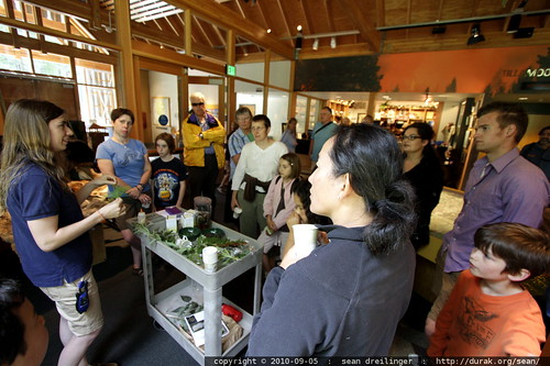 edible plants class inside the forest center